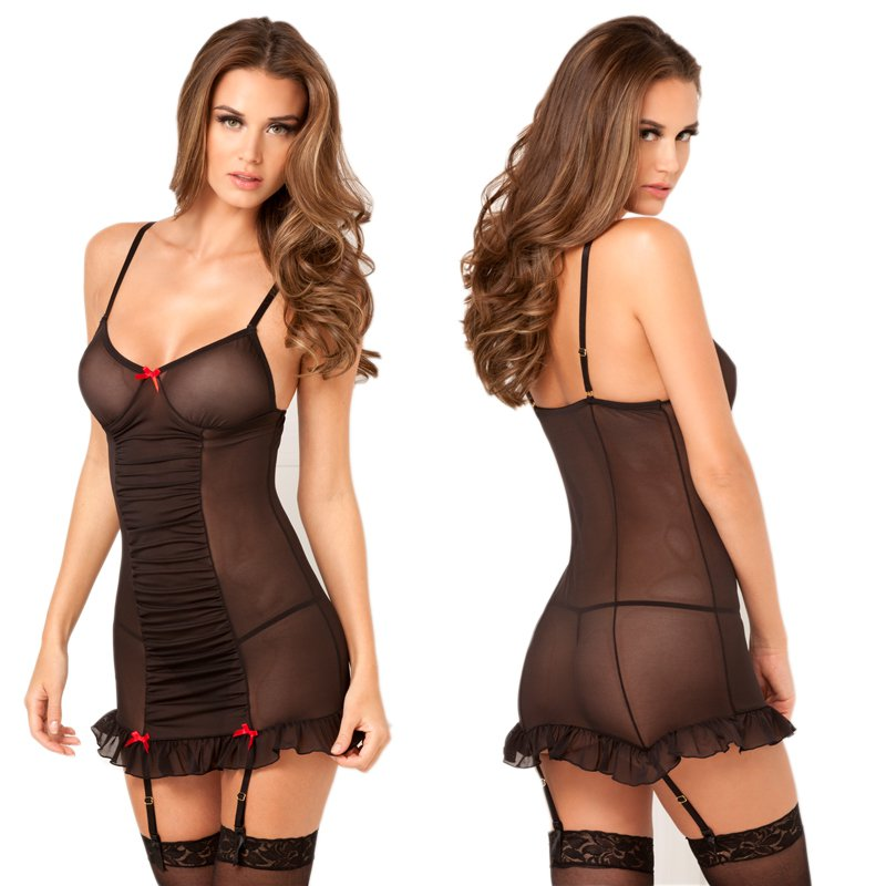 2pc Ruched up Garter Chemise Set