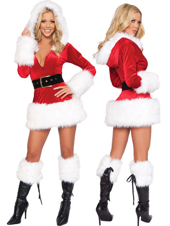 3 Piece Hooded Fur Trim Velvet Santa Dress