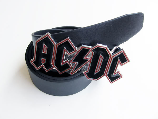 AC/DC MUSIC Heavy Metal Buckle Leather Belt