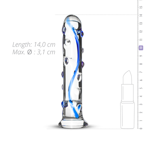 Blue Dotted Glass Dildo
