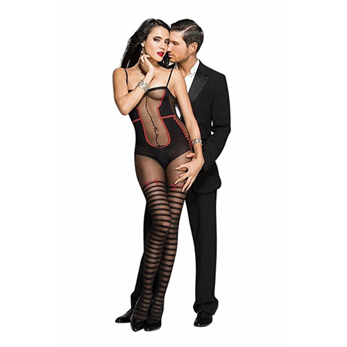 Bodystocking with body and striped stockings look