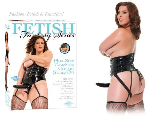 Fetish Fantasy Plus-Size Crotchless Corset Strap On