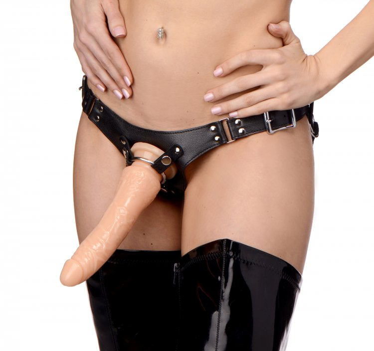 Dominance Leather Strap-On Harness