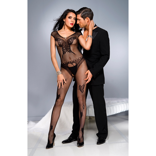 Fishnet catsuit with butterfly design