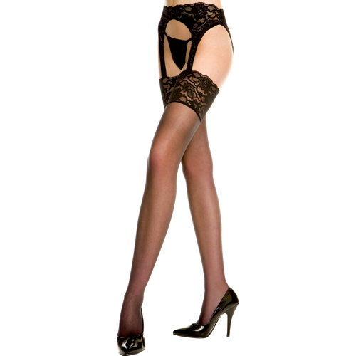 Wide lace top backseam sheer garterbelt stockings