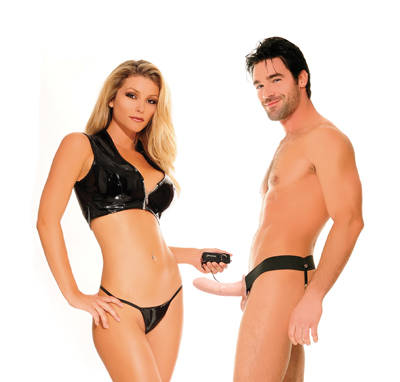 Fetish Fantasy For Him or Her Vibrating Hollow Strap-On