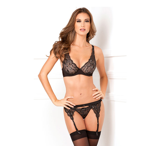 3pc lux lace lurex garter & thong set