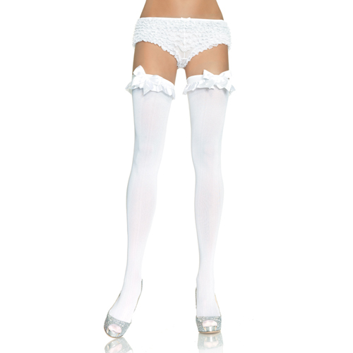 Opaque Thigh Highs White