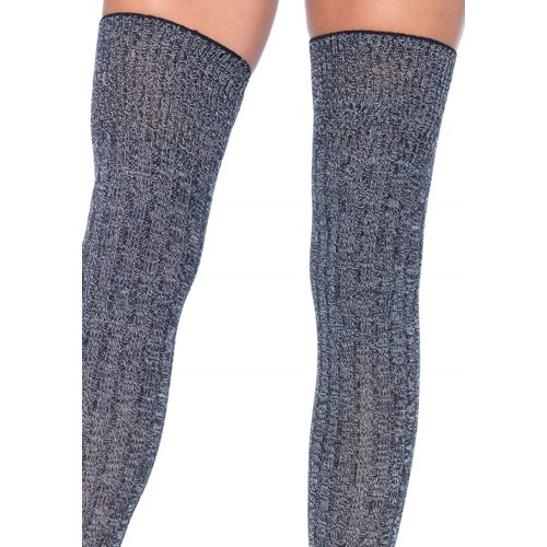 Rib Knit Thigh Highs Grey