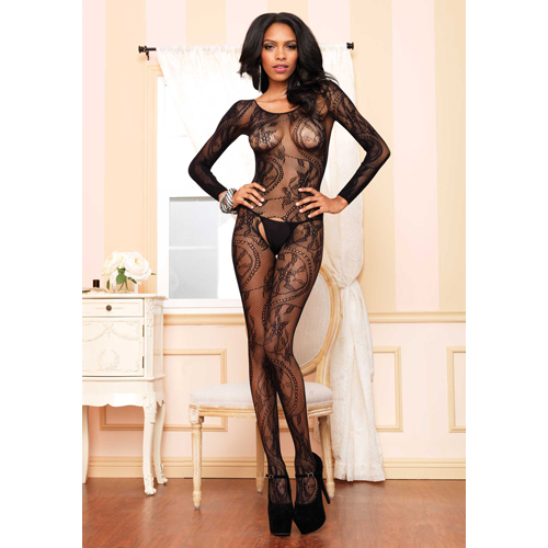 Black Seamless Long Sleeved Bodystocking